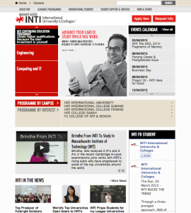 INTI International College & Universities website screenshot