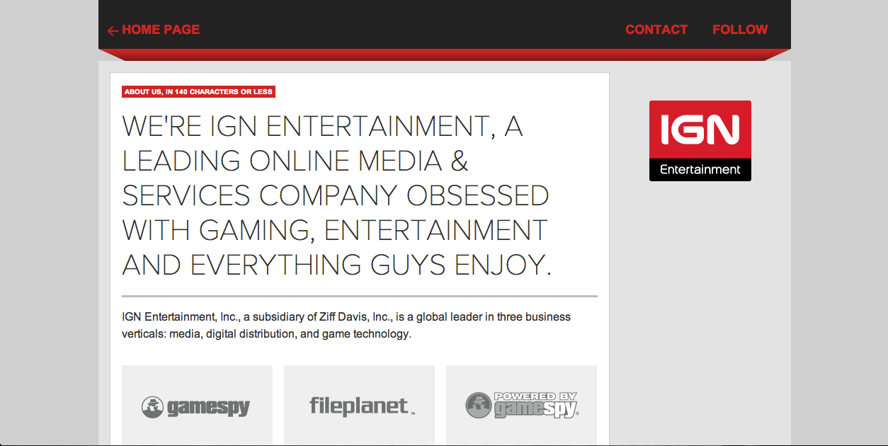 ING Entertainment About Us Page